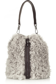 Elizabeth and James Cynnie Sling leather-paneled shearling backpack