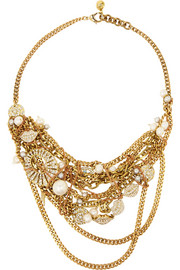 Lulu Frost Bord La Mer gold-plated, crystal and freshwater pearl necklace