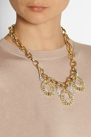 Lulu FrostOval Lumiere gold-plated crystal necklace