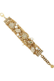 Lulu Frost Bord La Mer gold-plated brass, crystal and freshwater pearl bracelet