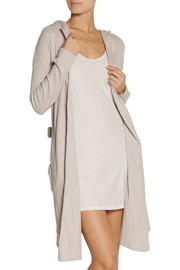 Skin Hooded waffle-knit cotton-jersey robe