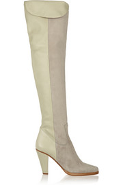 Chloé Suede and textured-leather over-the-knee boots