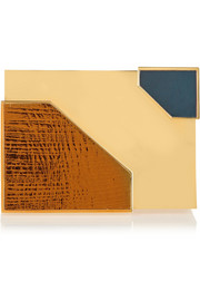 Lee Savage Broken Space leather and gold-tone box clutch