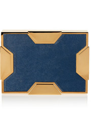 Lee Savage Space large gold-tone and calf hair box clutch