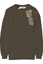 No. 21 Sequin-embellished chunky-knit wool sweater