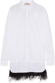 Feather-trimmed cotton-poplin shirt
