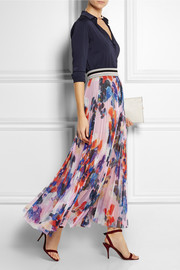 MSGM Pleated printed chiffon maxi skirt