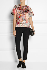 MSGM Embellished printed duchesse-satin top