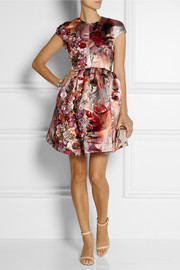 MSGM Embellished printed duchesse-satin mini dress