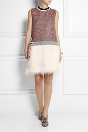 MSGM Faux fur-paneled tweed mini dress