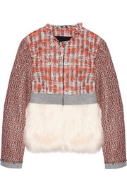 MSGM Faux fur-paneled tweed jacket