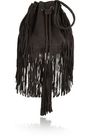 Antik Batik Bertil fringed suede drawstring bag