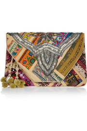 Antik Batik Jango embroidered cotton clutch