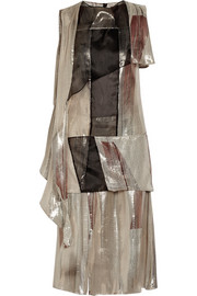 Chalayan Paneled metallic silk-blend and organza dress