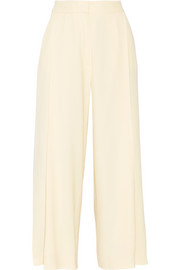 Pleated wool-blend gabardine culottes