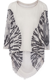 Raquel Allegra Shredded tie-dyed cotton-blend jersey top