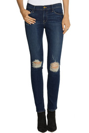 Le Skinny de Jeanne distressed mid-rise jeans