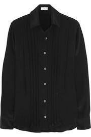 Le Tux pleated silk crepe de chine shirt
