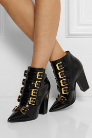 Laurence Dacade Galagher buckled glossed-leather ankle boots