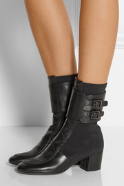 Laurence Dacade Gama paneled leather and stretch-crepe boots
