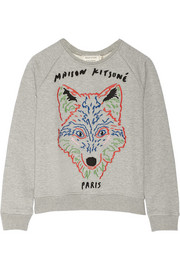 Maison Kitsuné Embroidered cotton-fleece sweatshirt