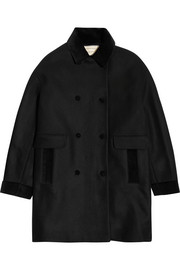 Maison Kitsuné Jane oversized velvet-trimmed wool-blend coat