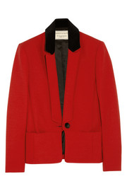 Lou velvet-trimmed stretch-crepe jacket