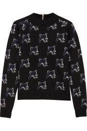 Maison Kitsuné Fox-intarsia merino wool-blend sweater