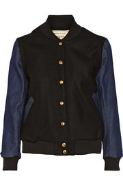 Maison Kitsuné Wool-blend and denim varsity jacket