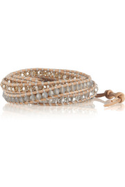 Chan Luu Swarovski crystal, silver and leather wrap bracelet