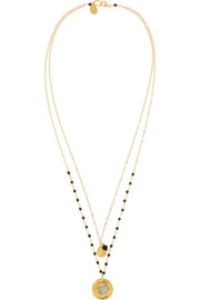 Chan Luu Gold-plated, onyx and labradorite necklace