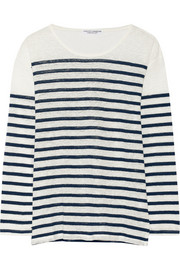 Current/Elliott + Charlotte Gainsbourg The Long Sleeve striped slub linen top