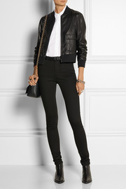 Current/Elliott + Charlotte Gainsbourg The Shrunken cropped leather bomber jacket