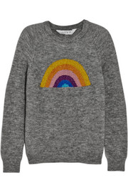 Lulu & Co Rainbow metallic intarsia knitted sweater