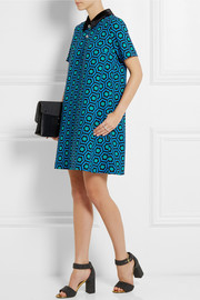 Lulu & Co Velvet-trimmed printed crepe mini dress