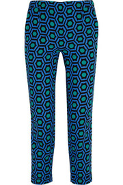 Cropped printed crepe slim-leg pants