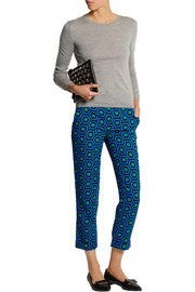 Lulu & Co Cropped printed crepe slim-leg pants