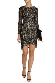 Lover Wrap-effect lace mini dress