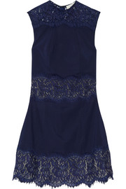 Lover Vee Vee lace-paneled twill mini dress