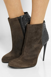 Haider Ackermann Suede and metallic python ankle boots