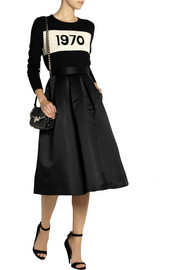 Lulu & Co Pleated brushed-satin midi skirt