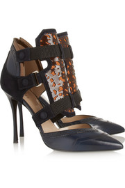 Nicholas Kirkwood + Peter Pilotto leather and suede pumps