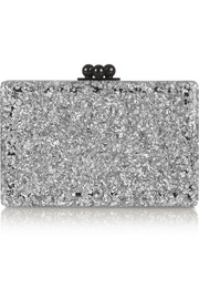 Minnie two-tone glittered acrylic box clutch