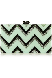 Edie Parker Jean Chevron glittered acrylic box clutch