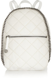 Quilted mini faux brushed-leather backpack
