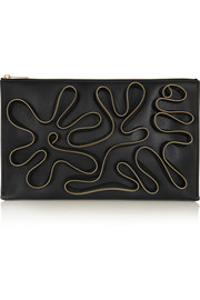 Cavandish zip-embellished faux leather clutch