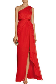 Notte by Marchesa One-shoulder silk-georgette gown