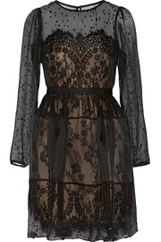 Notte by Marchesa Silk-blend chiffon fil coupé and lace dress