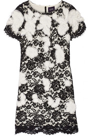 Notte by Marchesa Appliquéd lace mini dress
