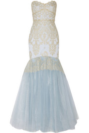 Notte by Marchesa Metallic lace-appliquéd tulle gown